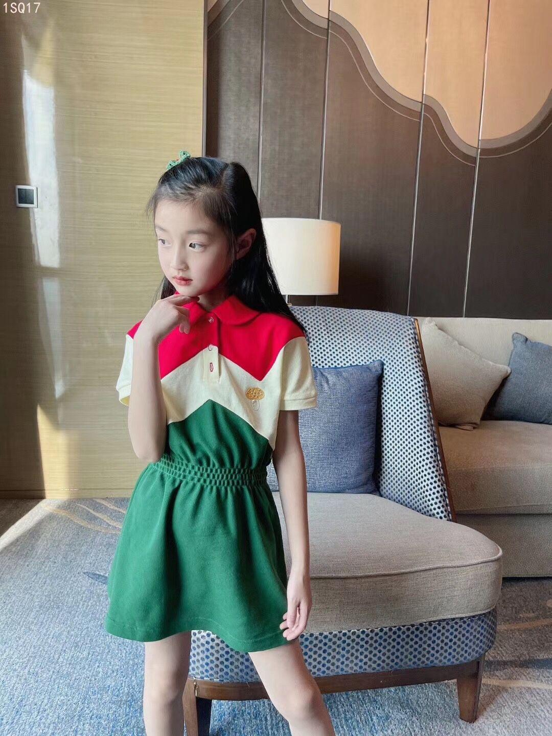 2021 free shipping high quality Baby Girls Summer Dress Pure Cotton Polo Dresses Children Kids Short-sleeved Clothes