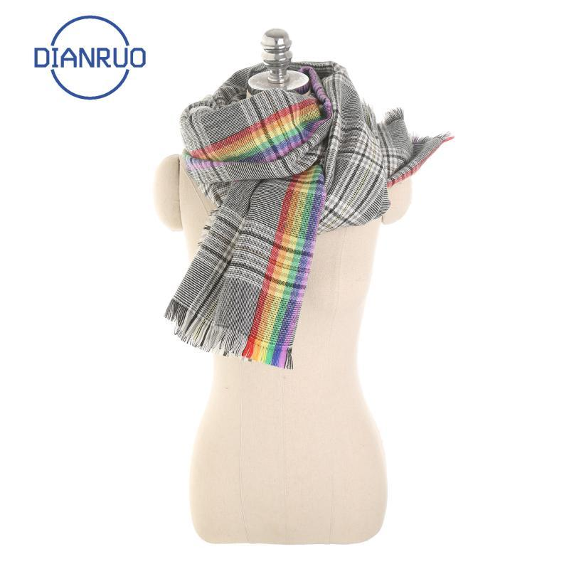 DiIonruo Heiß Verdickte Schals Warme Mode Schal Grau Regenbogen Schals Frauen Einfache karierende Wraps Nachahmung Kaschmir Schal R631