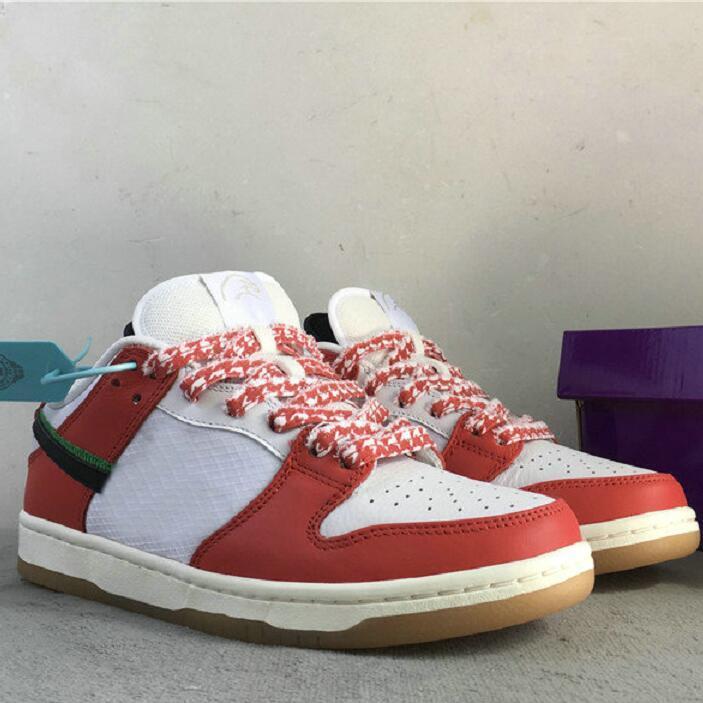 الإطار سكيت س دونك مكتنزة Dunky SB منخفضة حبيبي أبيض أحمر أحذية تزلج سوداء في الهواء الطلق الأحذية الرياضية