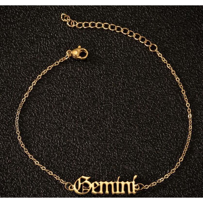 12 Bracelets de la cheville Zodiac pour femmes Bijoux hip hop Femmes Constellation Gold Réglable Anklet Stine Squcedg Homes2007