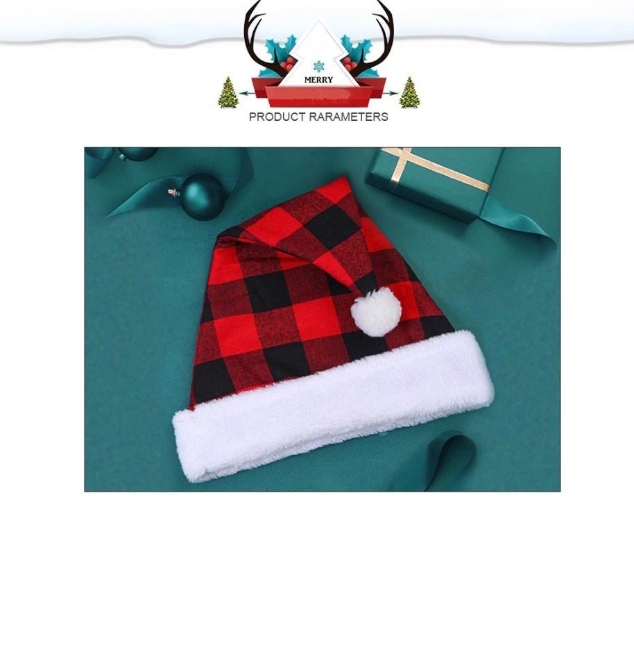 Chapeau de Noël heureux de jour pour adultes Chapeau de Père Noël de Noël rouge et noir à carreaux de Santa HatUnisex Velvet Comfort classique en peluche pour cadeau de Noël