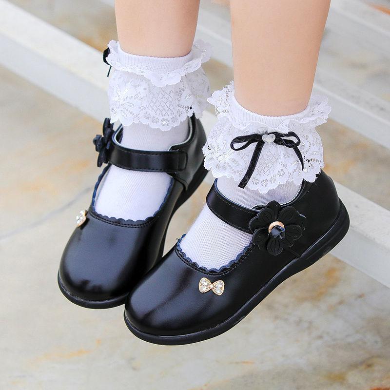 Дети Студенческих кожаных ботинок мода Принцесса Церемониальный Цветочница Школа Обувь Боутите Черное Покрытие износостойкого Мягкое дна