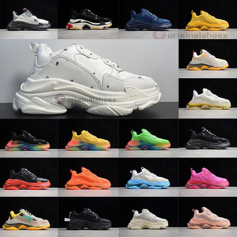 2021 새로운 파리 패션 17FW 배 S 스니커즈 크리스탈 바닥 체배기 블랙 화이트 편지 럭스 여자 실행 신발 남성 야외 트레이너를
