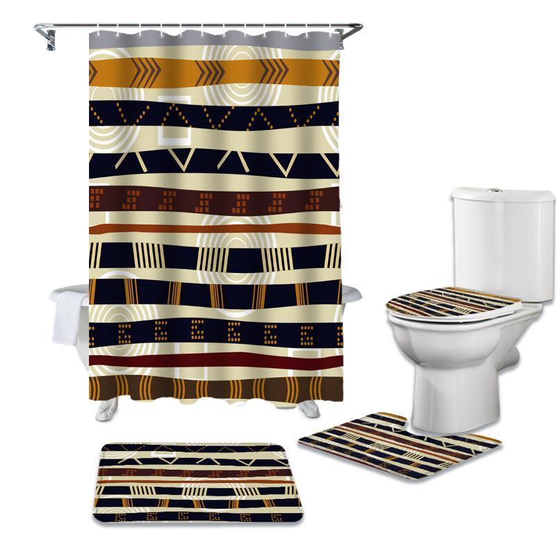 Племенной ретро Этнический душевой занавес Комплекты Non-Slip Коврового Туалета колпак и коврик для ванной водонепроницаемой ванной комнаты Шторы