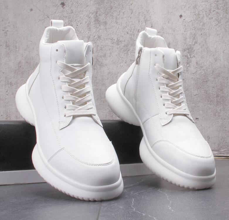 Luxe blanc épais fond sneaker homme Souliers simple punk hauts sommets chaussures jeunes hommes bottes Martin étudiants chaussures de bal de fête