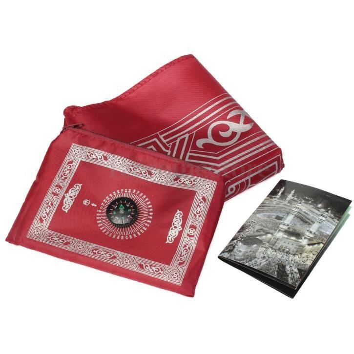 A oração islâmica Rug portátil trançado Mat Portátil Oração Zipper Compass Cobertores bolso Tapetes muçulmana Tapetes muçulmana Worship Blanket KKB2816