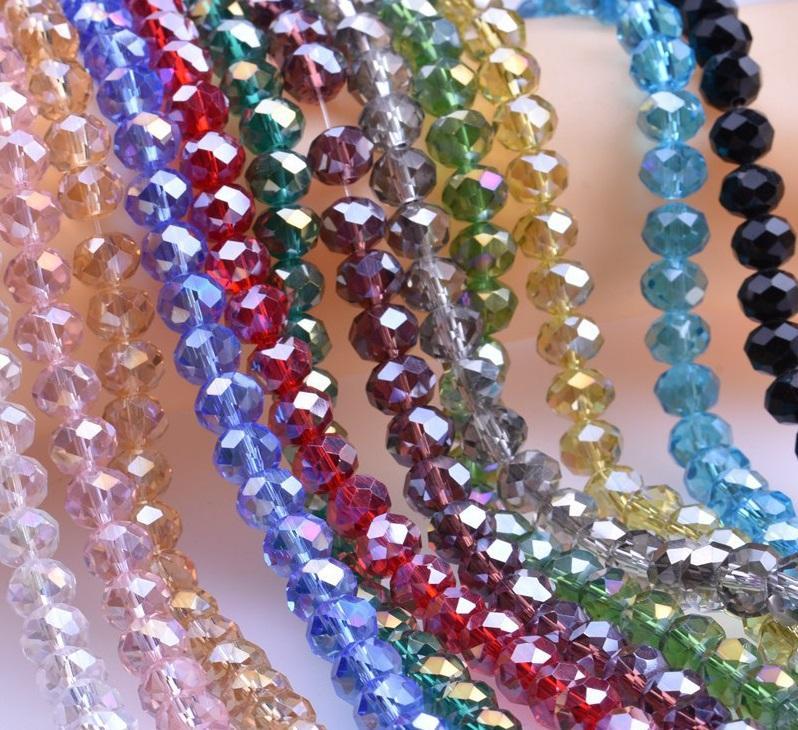 Multicolour Banhado Ab Abacus Cristal Vidro Loose Beads Faceted Colors Jóias Fazendo