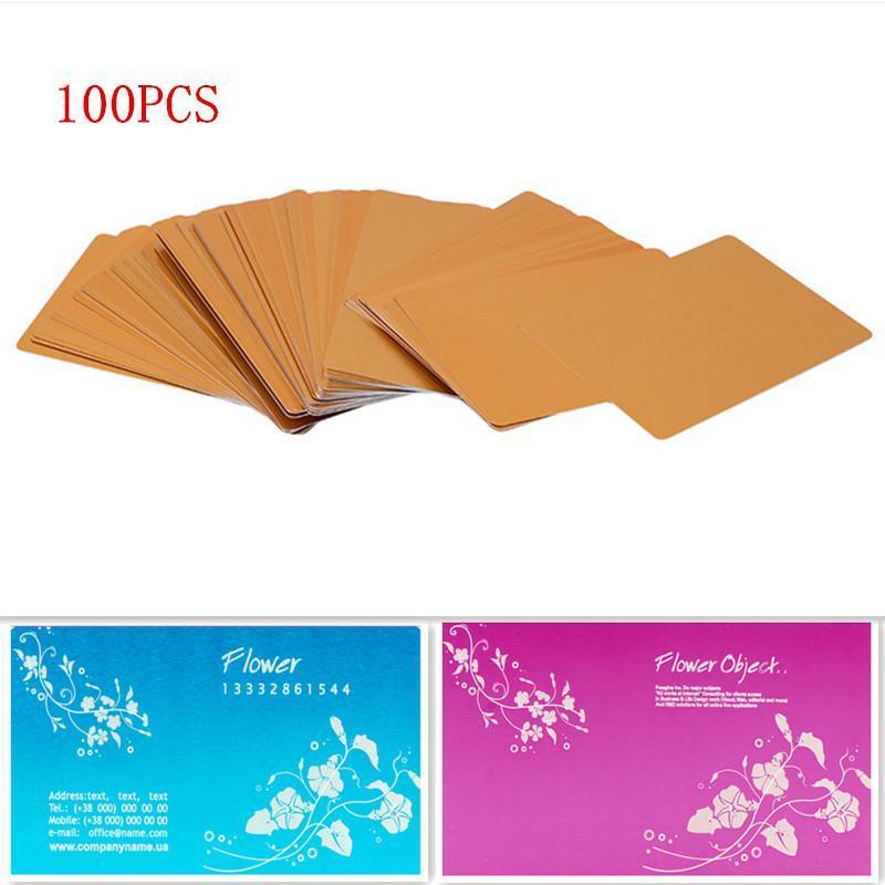 100 قطع الألومنيوم سبائك الفراغات بطاقة للعميل الليزر النقش diy هدية بطاقات معدنية بطاقات الأعمال
