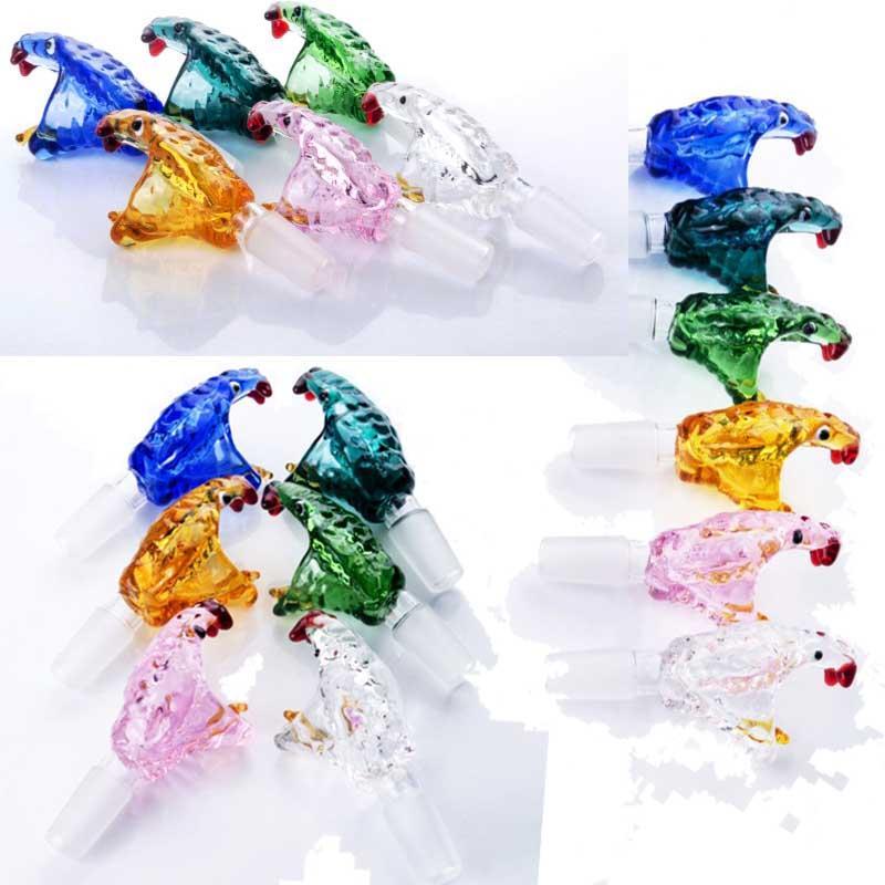 Colorido Cabeza de serpiente Cabeza BONG ACCESIONES Reciclador DAB Rig Glass Agua Agua Accesorio Accesorio 14mm Tazón de fuente Gratis Envío