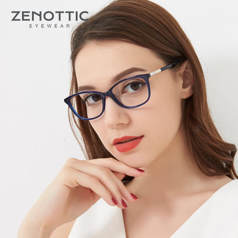Zenottic Acetate Cat Eye Eye Gafas Marcos para Mujeres Moda OPTICAL MYOPIA Gafas Eyewear Lentes transparentes Lentes de prescripción 1006
