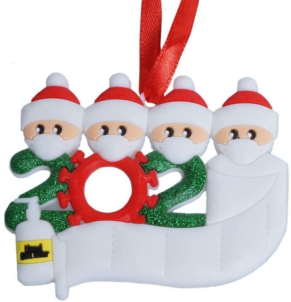 Cy7Ptoilet Kit de mão de Natal Sanitizer 2020 com papel, personalizado 2-5 Membros Nome sobrevivido Ornamento da família Xmas Tre