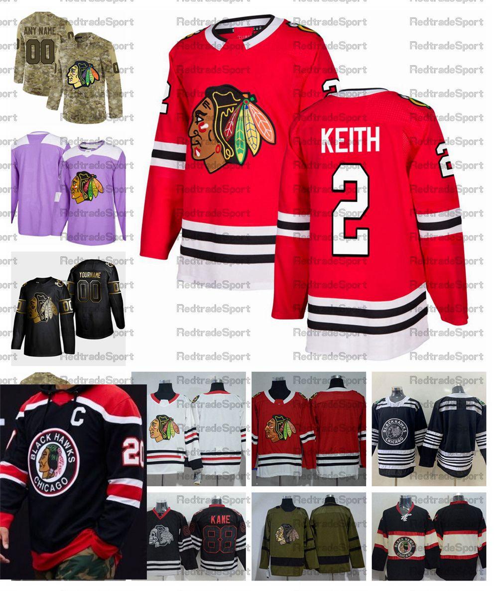 2021 Retro Retro Personalizar # 2 Duncan Keith Chicago BlackHawks Hockey Jerseys Jerseys Golden Edition Camo Veteranos Día Fights T Shirts