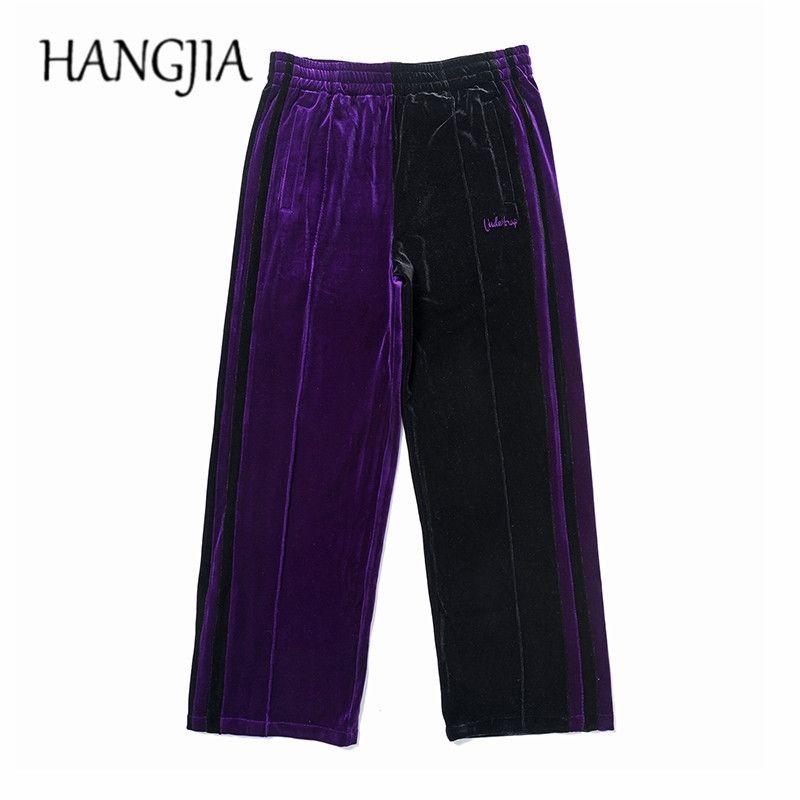 Verde / Púrpura Velvet Swearswear Streetwear Velor Pantalones de pierna ancha Mujer Hip Hop Colorblock Pasos Pantalones Hombres Bordado Pantalones Y201123