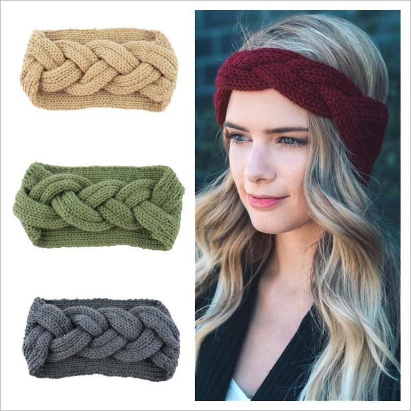 9 couleurs Tricoté Crochet Bandeau Femmes Sport d'hiver Hairband Turban Yoga Head Band Cache-oreilles Cap Bandeaux Party Favor YYA551