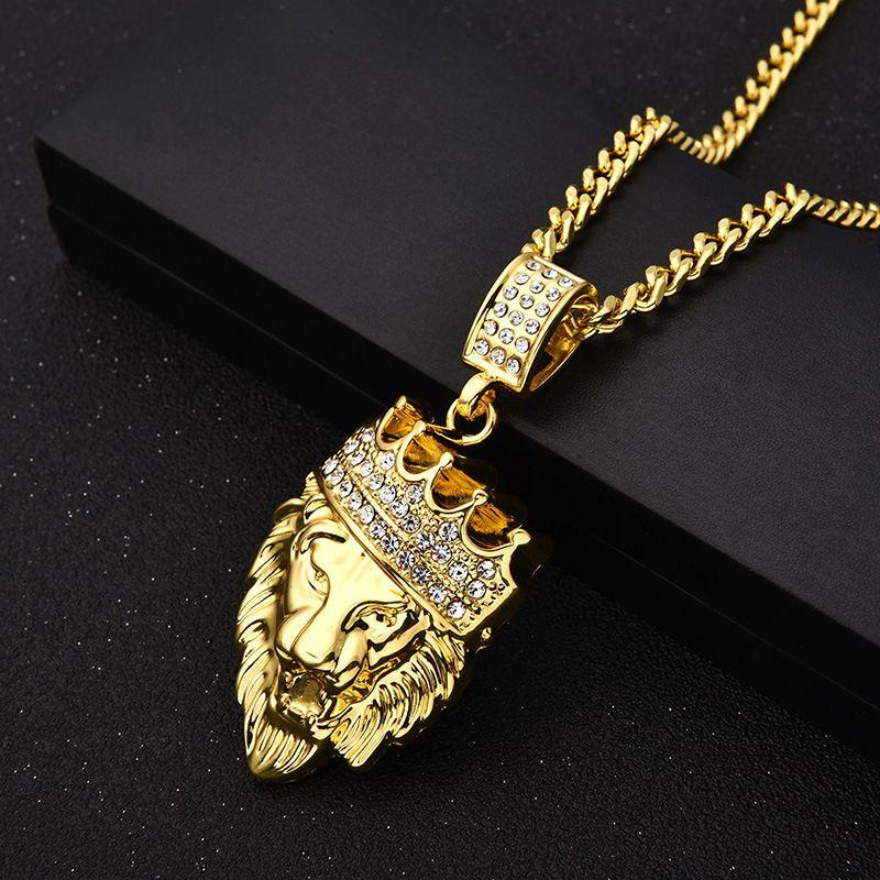Erkek / Bayan Q1113 için Hip Hop Takı Aslan Başkanı kolye ile Altın Zincir Kral Taç buzlu Out kolye