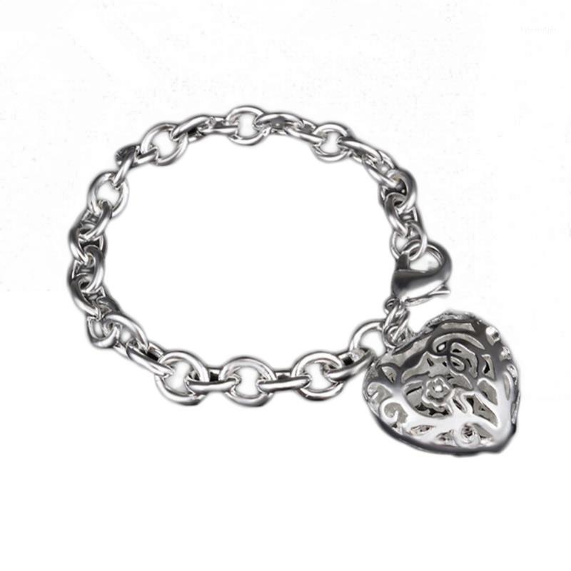 Pulseras de encanto ahuecamiento hacia fuera accesorios de moda chapado joyería fina amor forma mujer pulsera gota 1