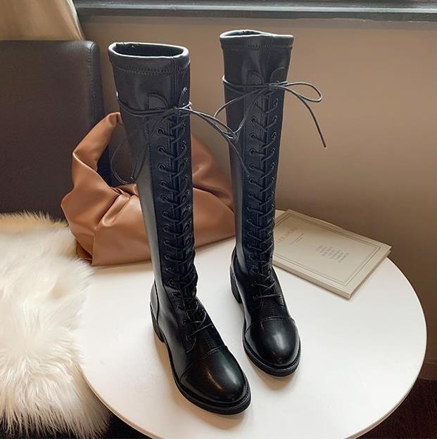 2021 NUEVOS zapatos de fiesta sexy mujer sobre las botas de la rodilla Girls Fancy Dress Wedge Boots Botas largas de cuero de patente brillante