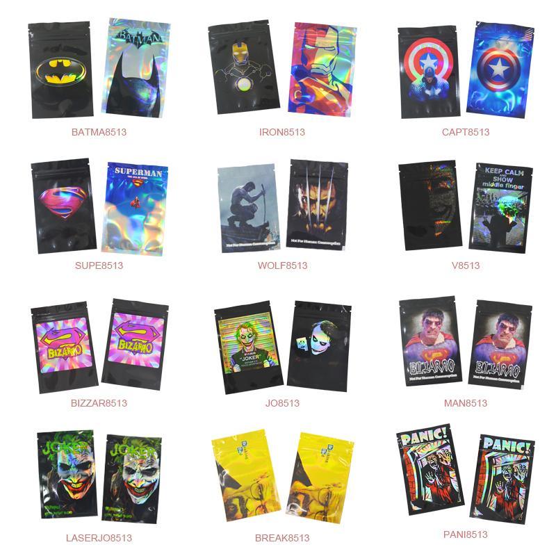 100 pcs 8.5x13 cm (3.3''X5.1 '' ') Bolsas de bloqueio de zip Alumínio Mylar Food Food Bags 5 ~ 10 gramas personalizado Sacos impressos frete grátis 201021