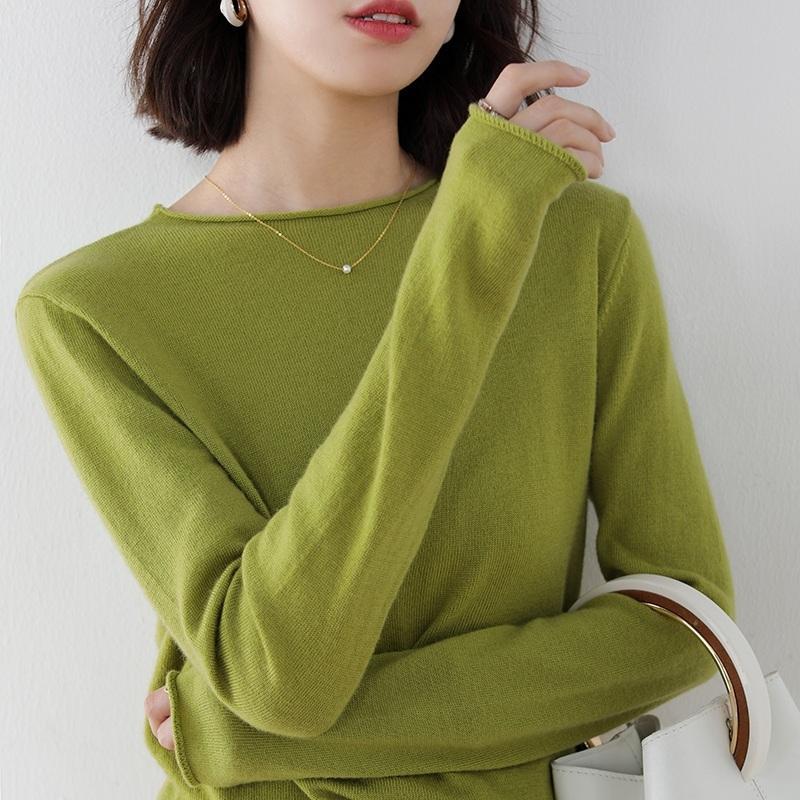 Горячая распродажа 100% кашемировой и шерстяной вязаный свитер Женщины O-шеи с длинным рукавом Стандартный трикотаж осень зима мода женский джемпер