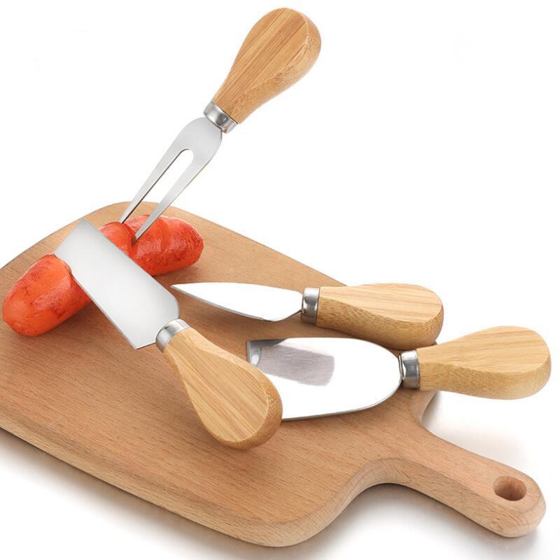 سكين الجبن مجموعة البلوط مقبض سكين شوكة مجرفة عدة مخالفات الخبز الجبن البيتزا القطاعة القاطع مجموعة KKF2022