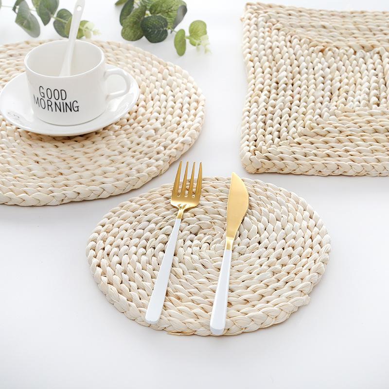 Японский натуральный кукурузный мех сплетенный прокладки утолщенные изоляционные чайные коврик для чая коврик для столовой термостойкий кастрюль для кастрюля подушки подушки обеденного стола