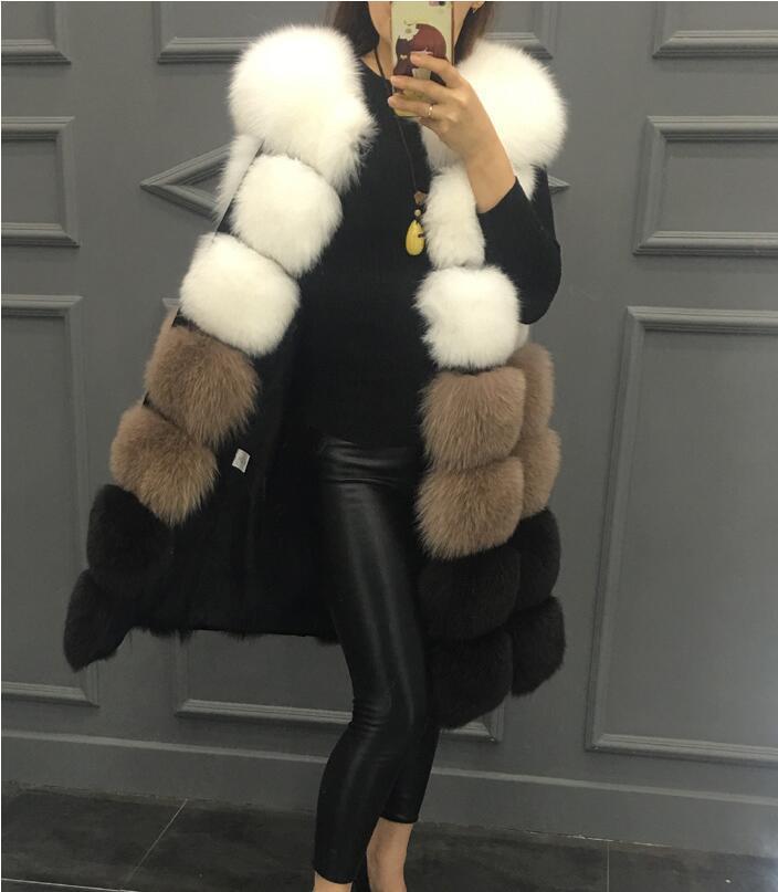 2020 Nueva capa de moda de la moda Mujeres de la chaleco de la chaleco de la piel de la piel de alta imitación de los colores mezclados de las mujeres de estilo mediano de largo y largo.