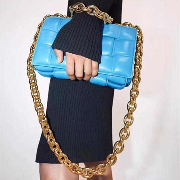 Bayanlar Düz Zincirler Omuz Çantaları 2021 Yüksek Kaliteli Bayan Zincir Çanta Crossbody Çanta Kadınlar Için İki Ton Moda Çanta İnek Deri Çantalar