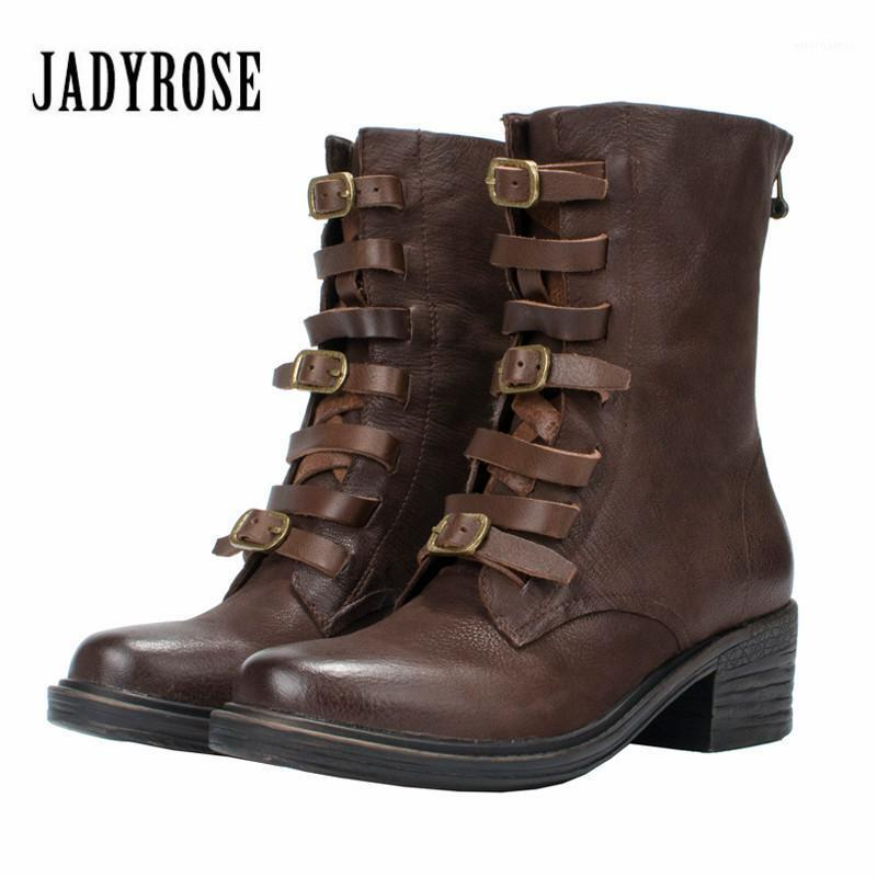 جادي روز القهوة جلد طبيعي المرأة أحذية عالية الأشرطة الخريف الشتاء ركوب الأحذية الإناث منتصف العجل منصة المطاط الأحذية 1