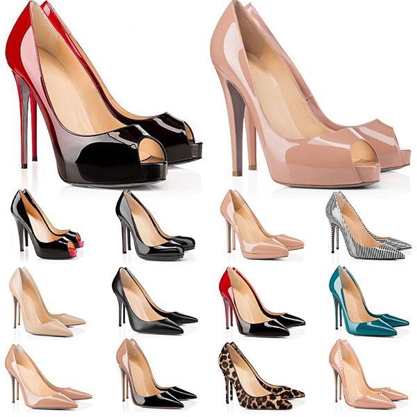 Yüksek Topuklu Kırmızı Dipler Bayan Topuk 8 10 12 cm Hakiki Deri Noktası Toe Pompaları Kauçuk Düğün Ziyafet Elbise Ayakkabı Online Satış