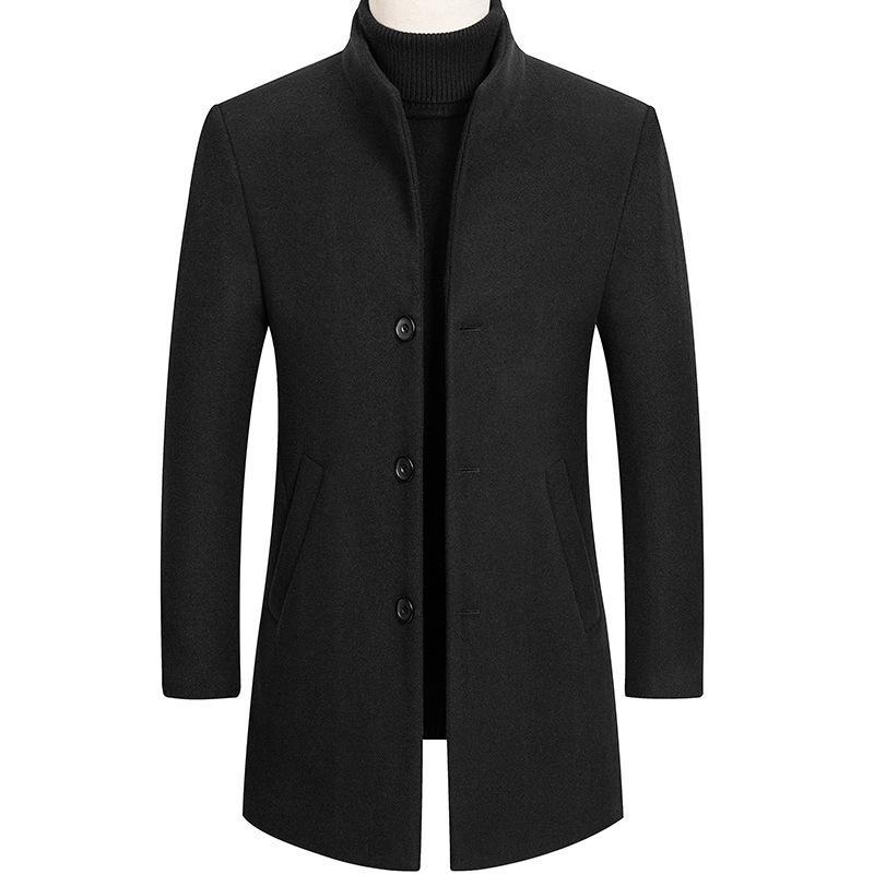 2021 Новая осень и зимняя шерстяная шерстяная пальто, длинное пальто, мужская ветровка, зимняя мужская одежда