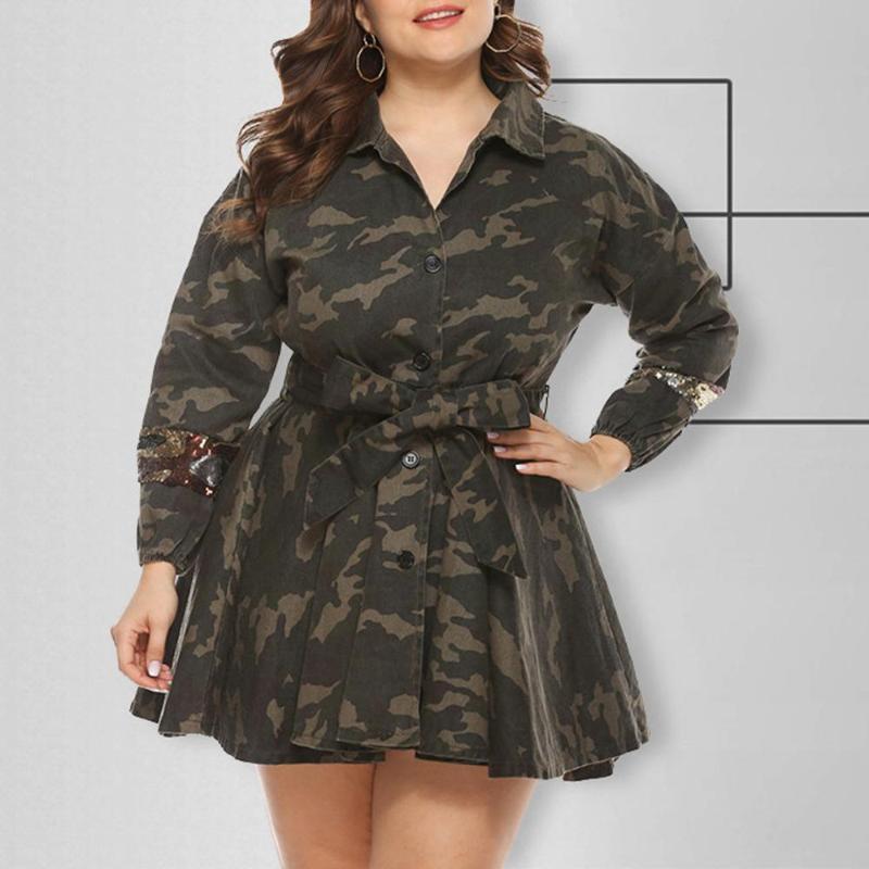 De plus Manteau Camouflage Femmes Taille Veste Army Green élégant manteau Casual Robe