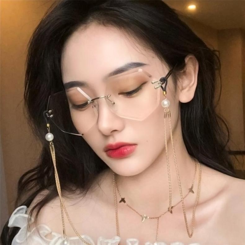 2020 Gläser Katze Randlose Trieblinse Marke Sonnenbrille Shades Designer Farbige Eye Sun Clear rahmenlose Gradienten Frauen Brillen Wuorl