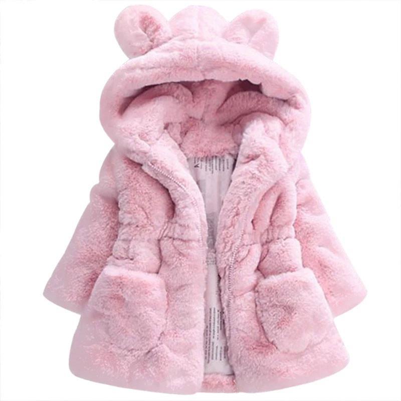 Las niñas los niños de la chaqueta 2020 otoño invierno de imitación de piel de bebé Abrigos para niñas Escudo bebé caliente de abrigo con capucha Traje para la nieve Ropa para niños 0930