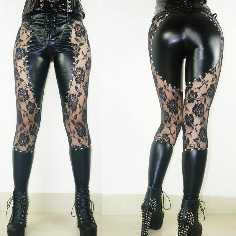 New Women Sexy Lingerie Faux Leather Black Lace Up Leggings Wet look Rivets Clubwear Fashion Lace Gothic Pants Ladies S-XL