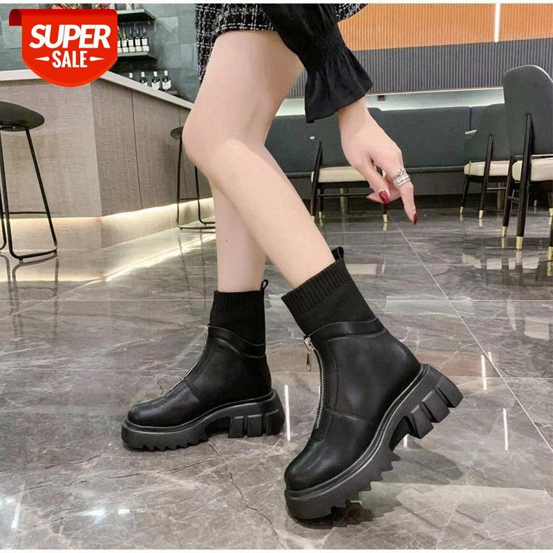 Winter PU-Lederstiefel Frauen Reißverschluss Stretch Stoff Schuhe Damen Rutschfeste Warm Plüsch PlarForm Stiefel Nähen Chunky Heels Botas # FT7N