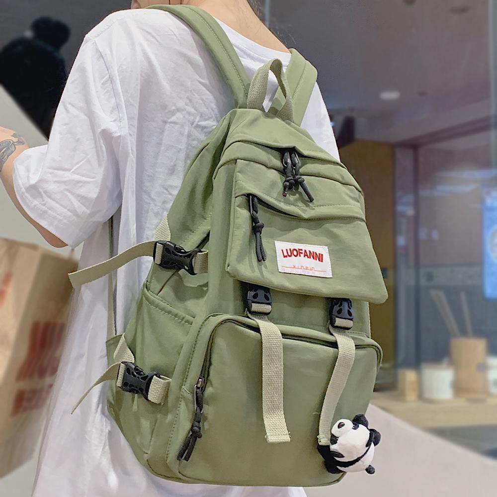 Women Waterproof Buckle Nylon Student Cute School Girl Female Kawaii Backpack Laptop Fashion Book Bag Ladies Luxury Q1113