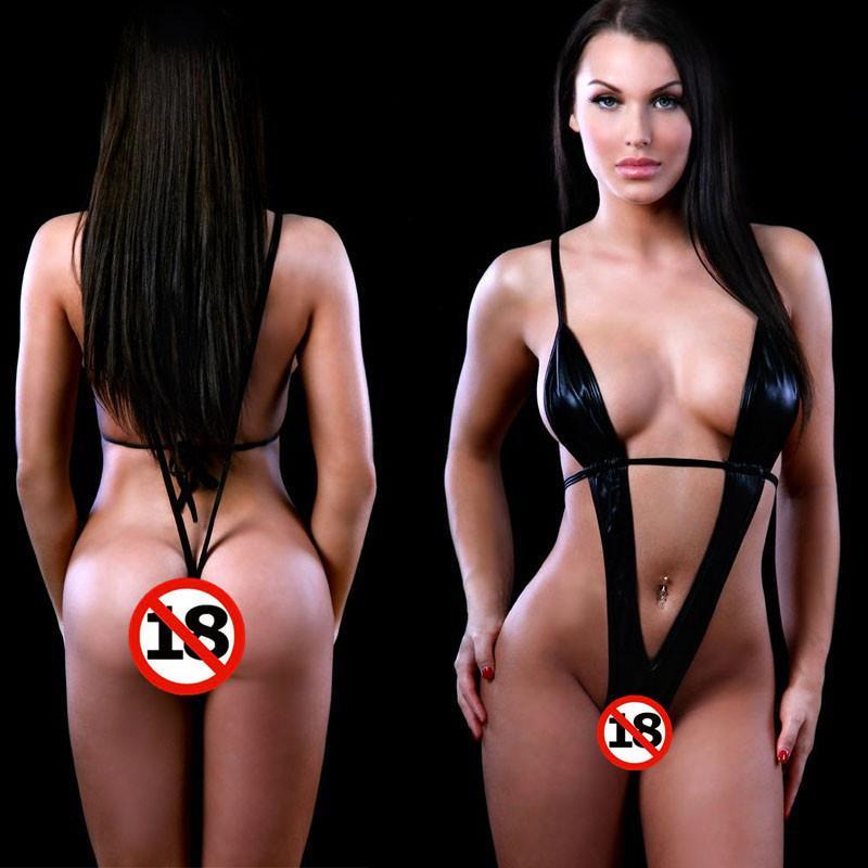 Веселое нижнее белье черная сексуальная роль из патентной кожи играет три точки открытый промежностный забавный костюм