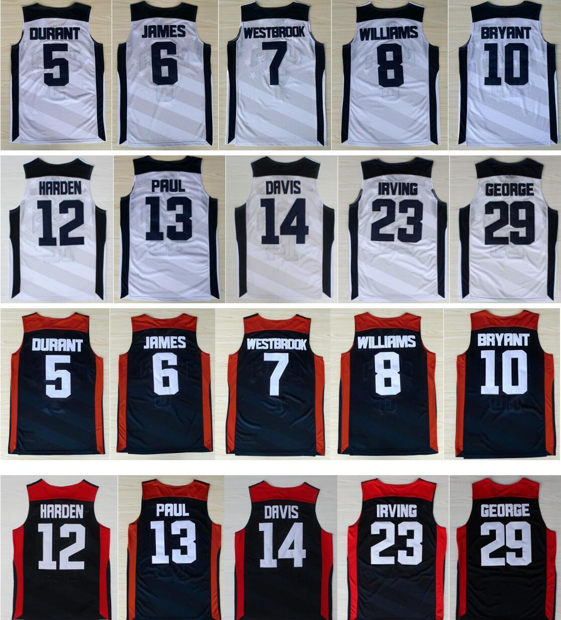 2012 Rüya Takımı Kevin 5 Durant Lebron 6 James 10 Bryant Chris Paul Harden Williams Westbrook Davis Mavi Beyaz NCAA Basketbol Formaları
