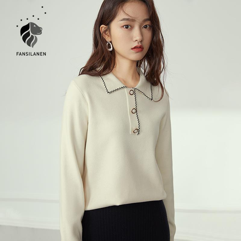 FANSILANEN Vintage white knitted sweater Women autumn winter elegant wram pullover Female embroidery casual jumper top 2020