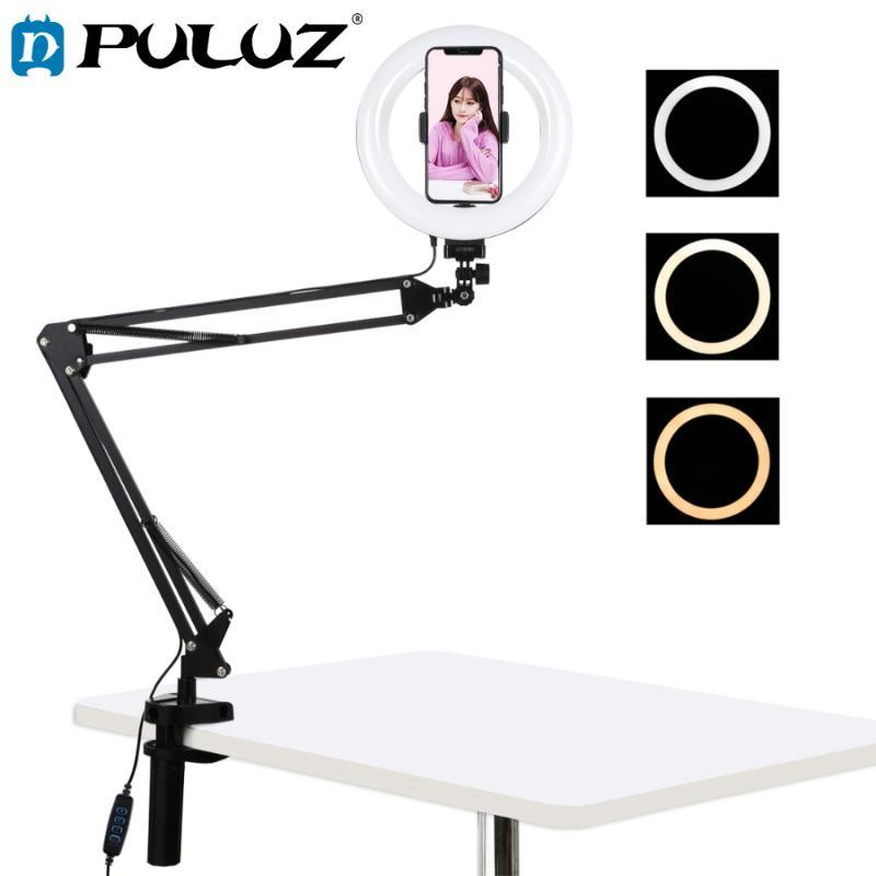 PULUZ 7.9/10.2 inch Tabletop Ring Light with long Arm Light Stand Youtube Vlogging Selfie Photography USB LED Video Lights