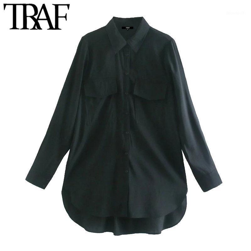Blouses Femmes Chemises Traf Femmes Mode Avec Pockets Vintage Vintage Bouton à manches longues Femelle Blusas Chic Tops1