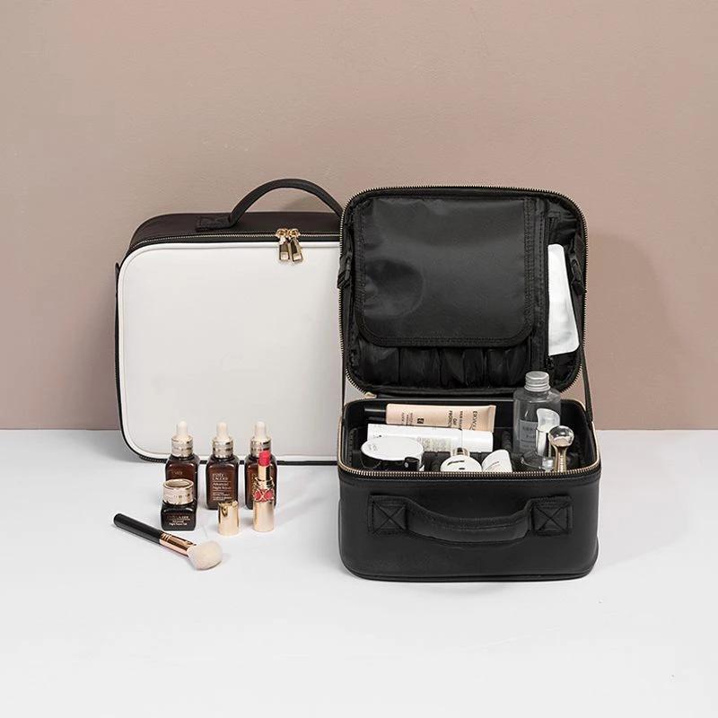 Leder Kulturhandtasche Tasche Clapboard Kapazität Up Case Tasche Machen Sie Speicherkosmetikreise Große professionelle Make-up-Einlage AGCCL