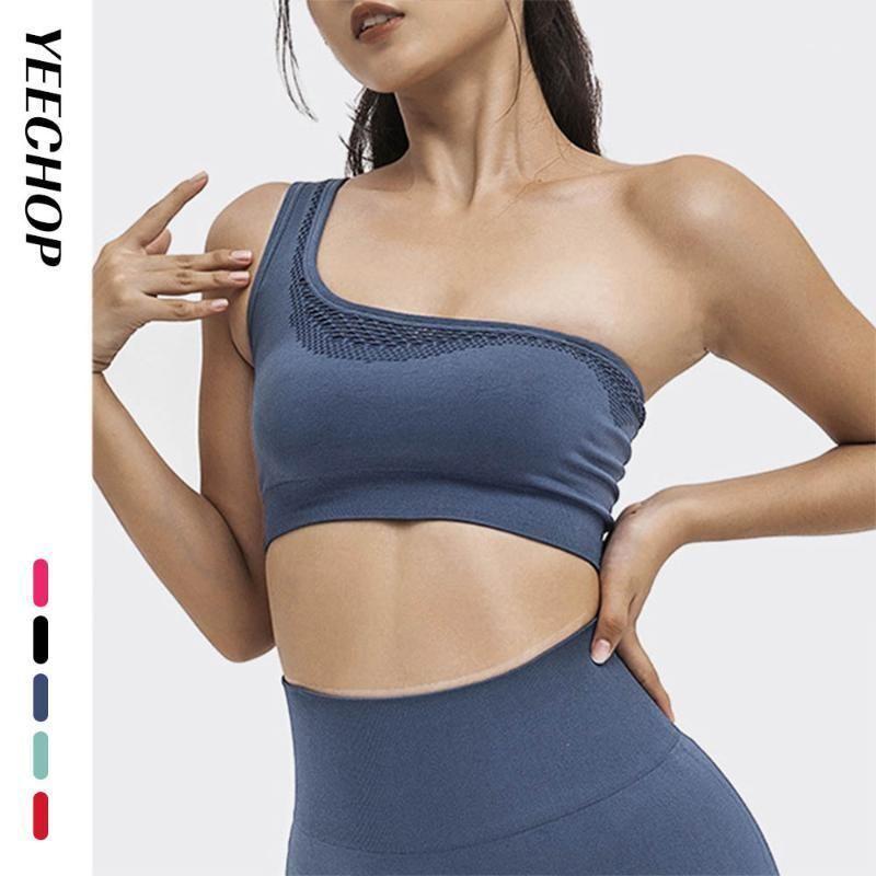 Yecchop sem costura um ombro esportes sutiã para mulheres calças justas ginásio tops mulheres fitness yoga colheita tanque push up treino underwear1