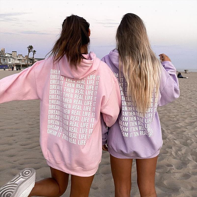 Oversized Pink Hoodie Sweatshirt Women 2021 Harajuku Autumn Letter Print Casual Long Pullovers Y2k Tops Purple Hoodies Sudaderas