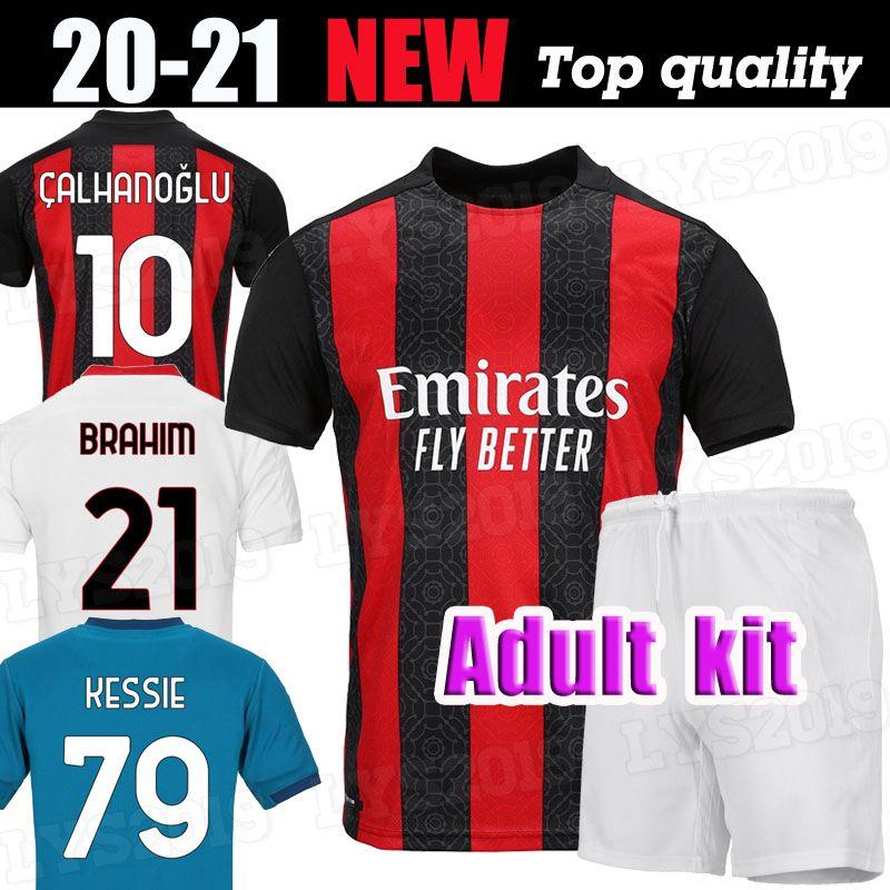Adulto definir AC 2020 2021 de futebol milan IBRAHIMOVIC camisas camisas de futebol Set Piatek Paquetá THEO Rebic homens kits de uniformes