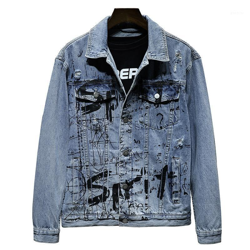 Mão pintada hip hop denim jaqueta homens grandes streetwear graffiti harajuku buraco jeans jaqueta 2020 mens casual denim outwear1