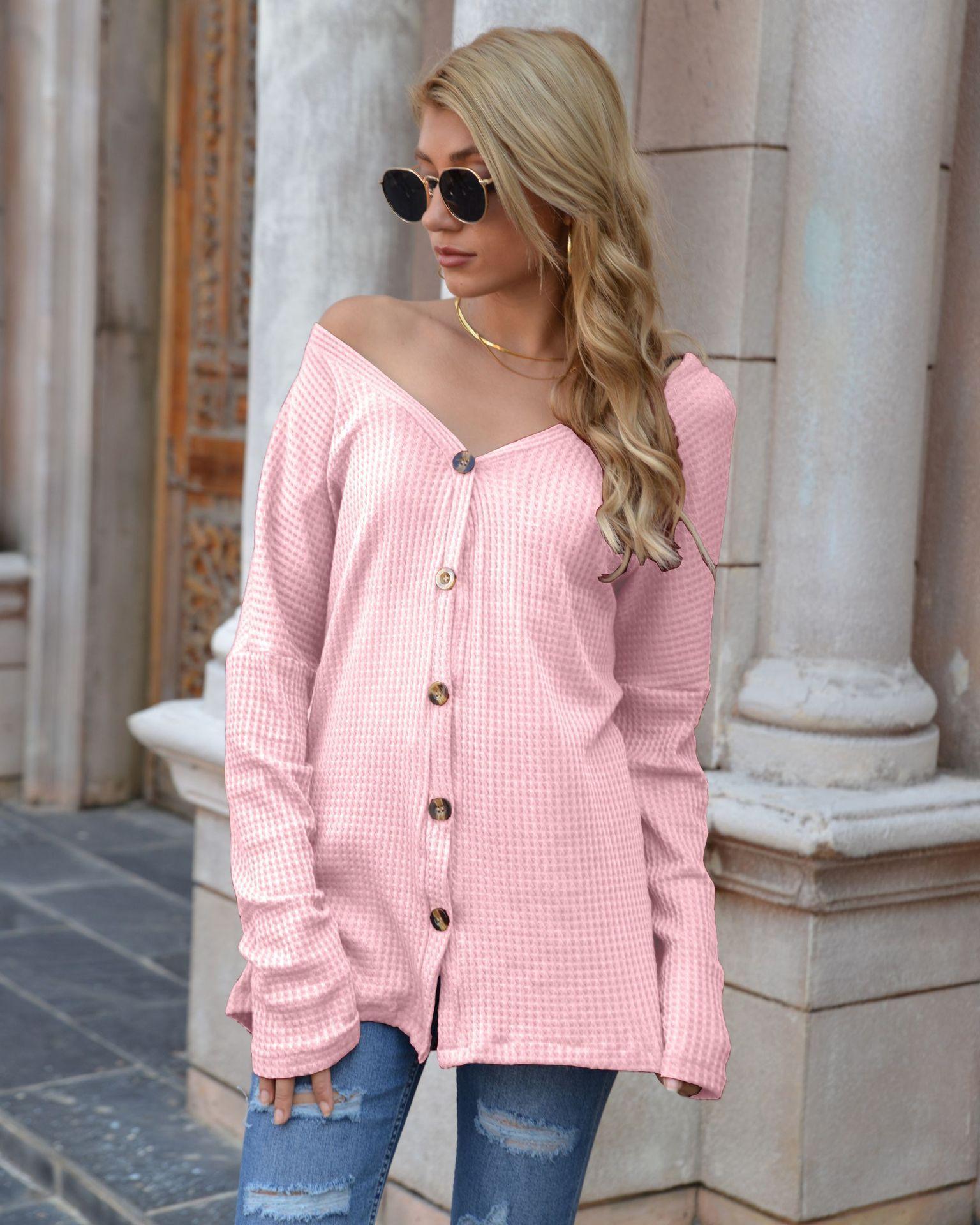 Womens Designer Pullover Mode Strick Weibliche Kleidung Herbst-Winter-lange Hülse V-Ausschnitt Solid Color Pullover