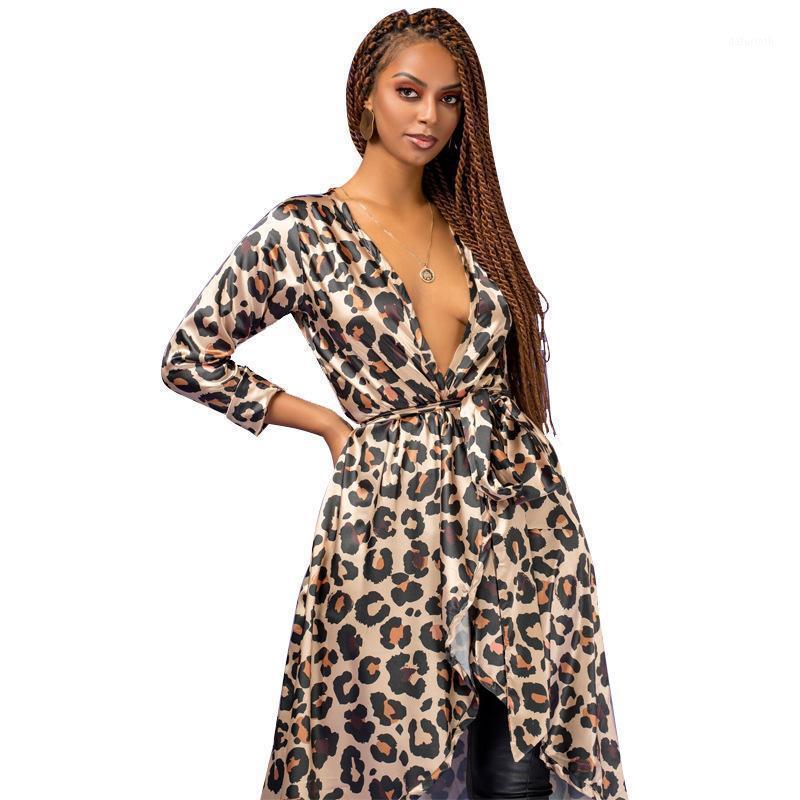 Новый Большой Размер Женщины Ветровка Весна Осень Сексуальная Женская Тонкая Верхняя одежда Мода Женщины Леопард Кардиган V-образным вырезом Длинные Пальто J6971