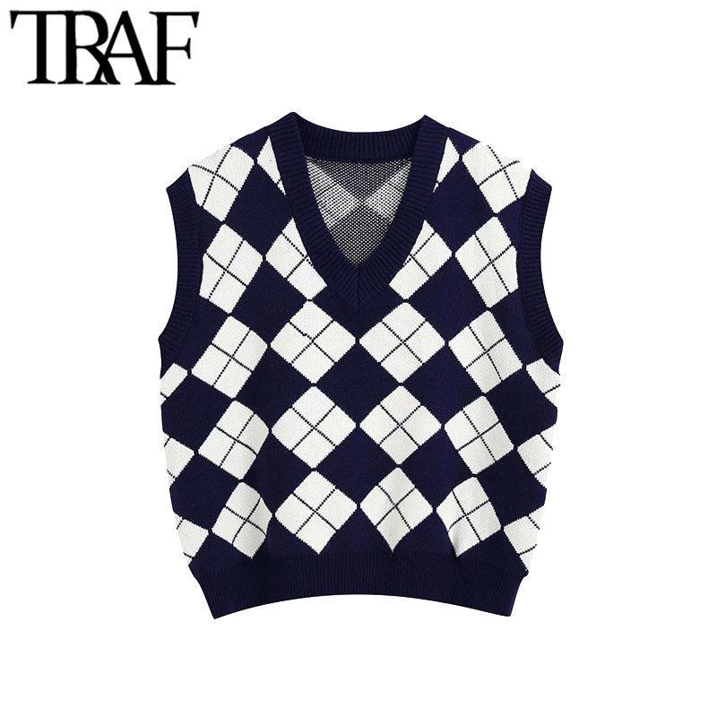 TRAF Kadınlar Moda İngiltere Tarzı Argyle Desen Örme Yelek Kazak Vintage Kolsuz Gevşek Kadın Yelek Şık Top 201123