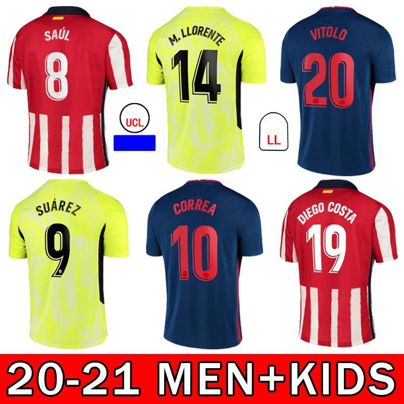 20 21 Neue Kurzarm-Fußball-Trikots João Félix Morata Saúl Felipe H.Herrera Koke Martinez Fans Version Home Away Football Shirt